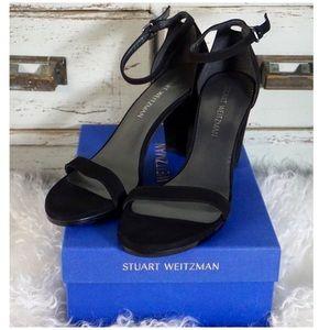 Stuart Weitzman Nearly Nude Suede Block Heels